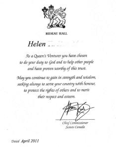 Helen's Queen's Venturer Award Certificate