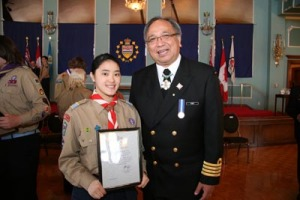 Yorkie Helen receives Scouts Canada Queen's Venturer Award at Government House.
