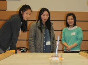 The girls constructed devices designed for movement in two challenges