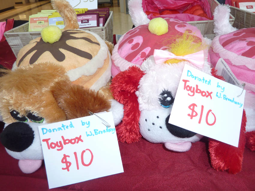 Plush toys for purchase, donated by ToyBox