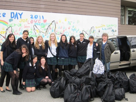 Senior girls filled 95 backpacks for Project Backpack