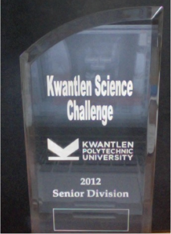 1st Place Award at Kwantlen Science Challenge