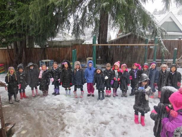 SK Apples enjoy the snow