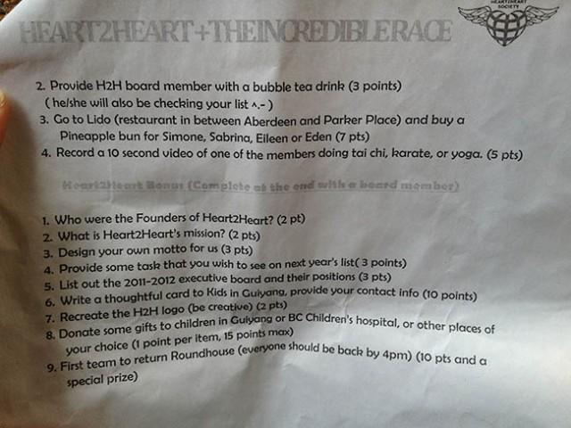 Heart2Heart Incredible Race