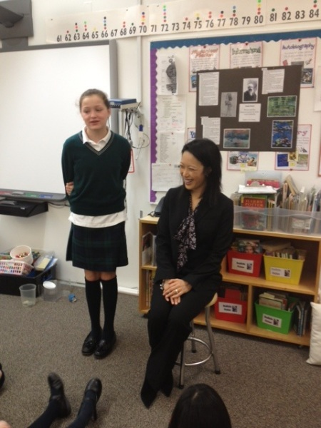 Aimee Chan, CEO of Norsat, speaks to the Gr. 5's