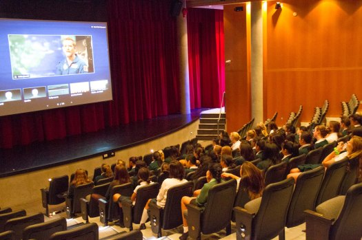 Grade 9s participating in Chris Hadfield Videoconference