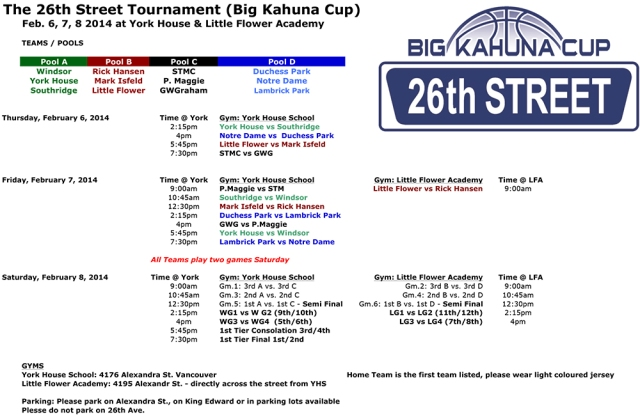 26th St. Tournament Schedule