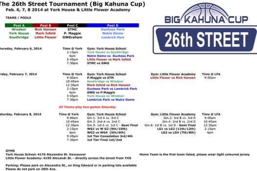 26th St. Tournament Schedule