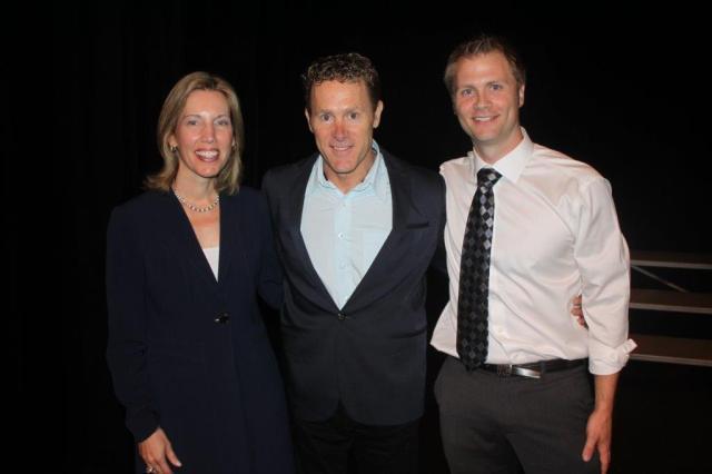 John McLean with Head of School, Chantal Gionet, and Director of the Senior School, Sam Johnston.