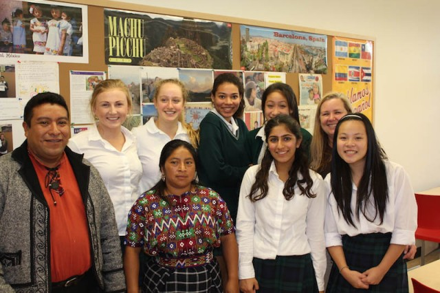 Project Somos Visits YHS: Nico Chiumil and Antolin Gonzales with one of Señora Marte's Spanish classes.