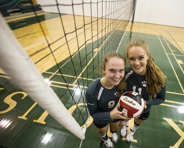Laura (left) and teammate Siobhan are York House teammates set to join the UBC Thunderbirds next season. (PNG photo by Steve Bosch)