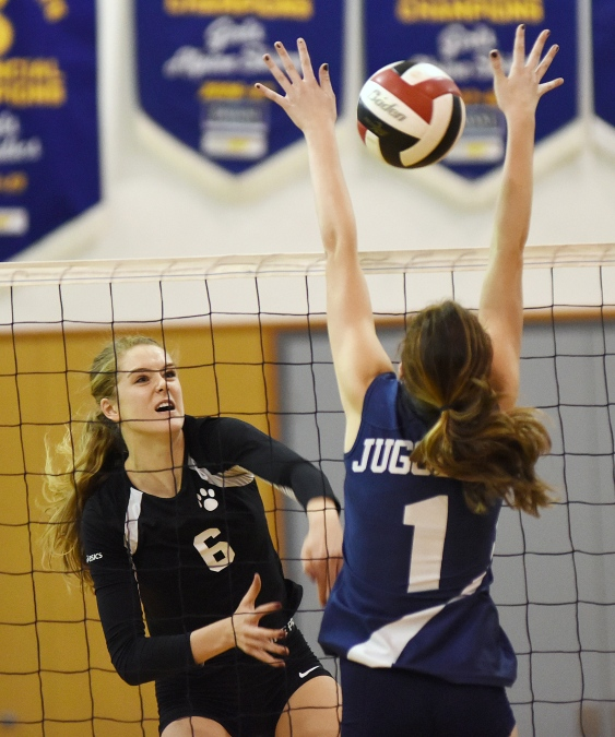 Siobhan (No. 6) fires the ball past Notre Dame blocker Mia (No. 1) in a playoff game at York House Nov. 6, 2014. Photo Dan Toulgoet.