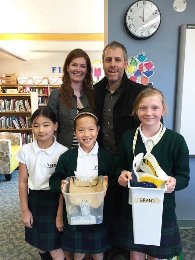 Documentary Filmmakers Jen and Grant with Grade 5 girls.