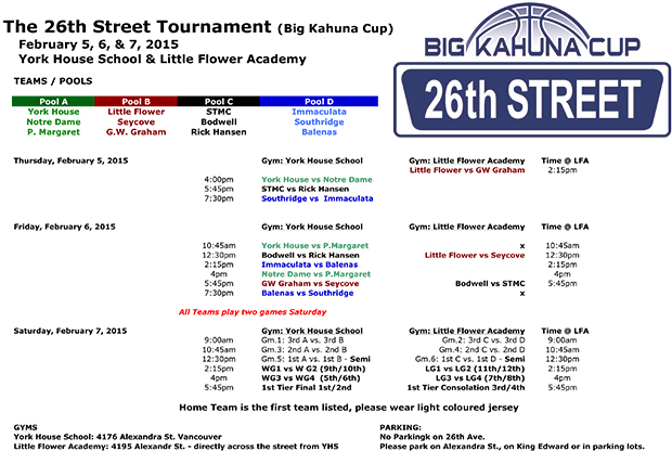 17th Annual 26th St. Tournament: Click to enlarge schedule.