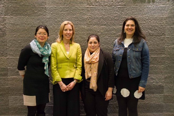 From L-R: Josie Fung, Acting Director at I-Think; Chantal Gionet, Head of School; Noga Kornberg, Research Associate at I-Think, and Ellie Avishi, Director at I-Think.