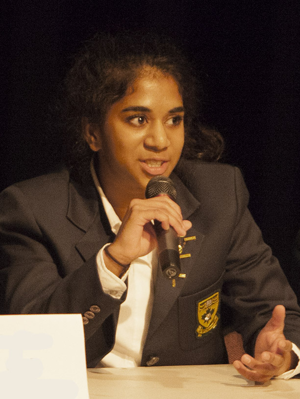 Anjali, addressing the student body at the Forum Assembly, April 2014.