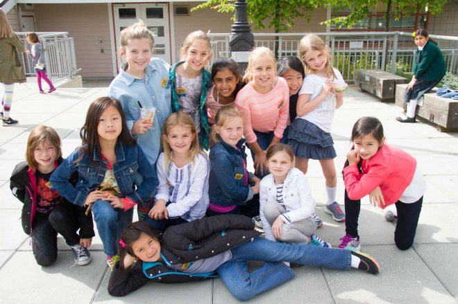 Junior girls in their jeans for BC Children's Hospital Jeans Day.