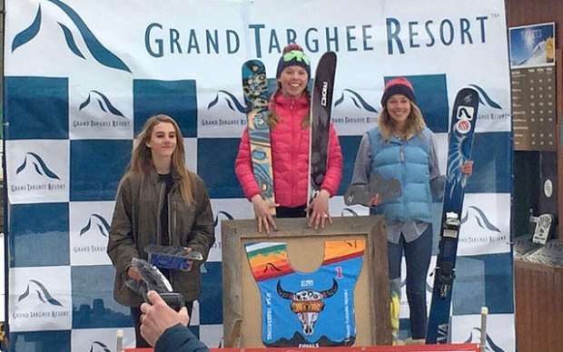Free and easy Whistler Freeride Club member Olivia (centre) topped the podium at the IFSA North American Junior Freeski Championships at Grand Targhee Resort in Wyoming over the weekend.