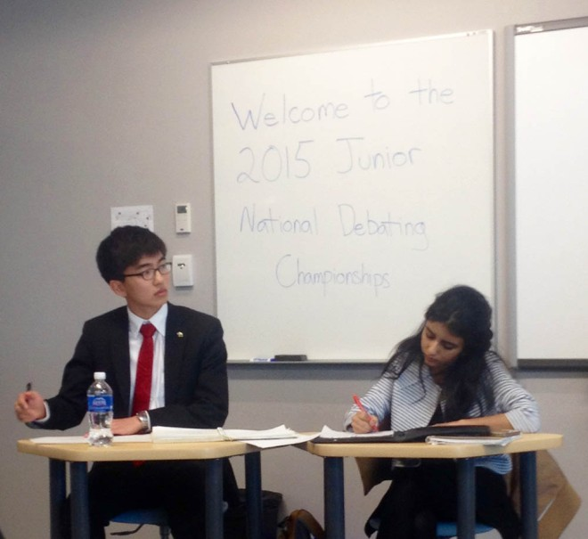 Rosa and Andrew hard at work at the Junior National Debate Championships in Winnipeg, MB.