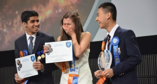 The trio of top winners at the 2015 Intel ISEF competition, from left: Karan Jerath of Friendswood, Texas, with Nicole Ticea and Raymond Wang of Vancouver, Canada.