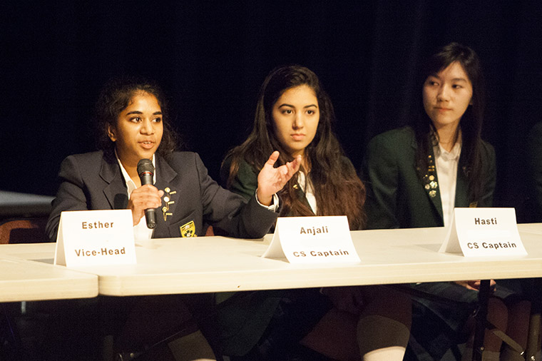 Anjali addresses YHS students at the Forum Assembly, April 2014.