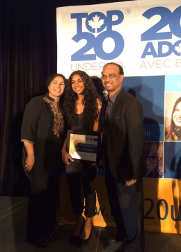 Anjali with her parents, at the Top 20 Under 20 Awards.