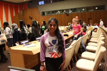 Anjali at the United Nations in New York, for International Day of the Girl, October 2014.
