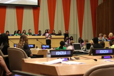 Anjali delivers her message for International Day of the Girl, at the United Nations in New York. October 2014.