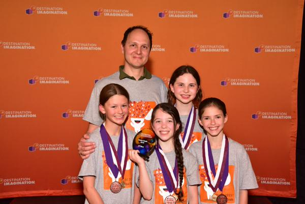 """Team manager Raul Sanchez Inglis pictured here with Team """"True or False"""": Sophie F., Zoe P., Bianca G. and Sophie B."""