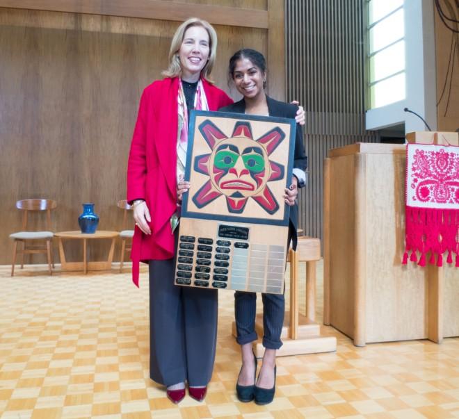 Head of School Chantal Gionet with Anjali Katta '15