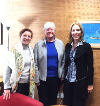 Head of School, Chantal Gionet (right), with Robin Mansell '69 (center) and Executive Director, Advancement, Laura Edwards (left).