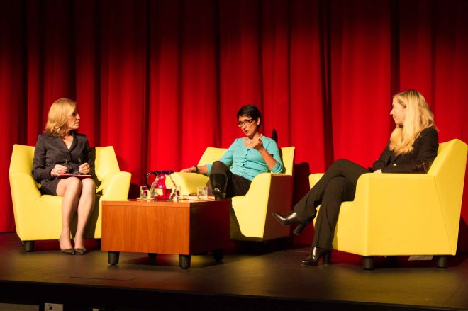 A Conversation with Irshad Manji: Head of School, Chantal Gionet and Director of Senior School, Kimberley Harvey, pose questions to Irshad during our Parent Evening.