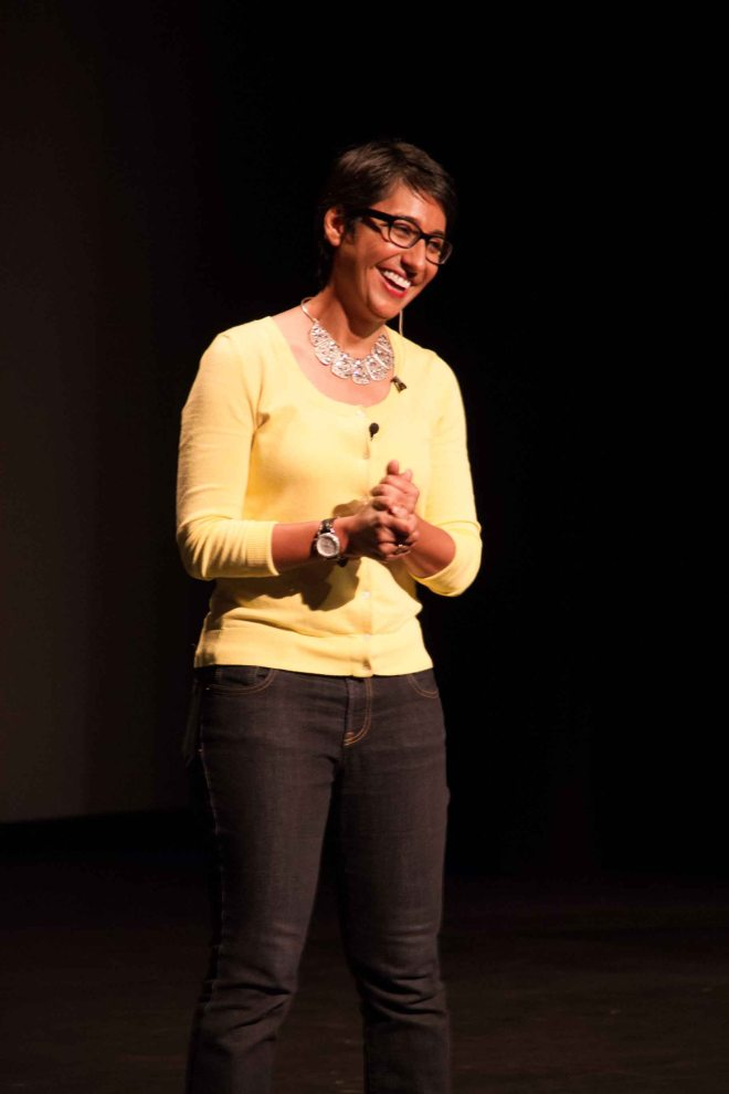 Irshad Manji speaks at the Sr. School Assembly, October 5, 2015.