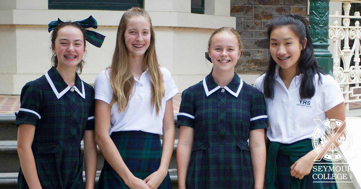 Kathryn and Jadyn, Gr. 9, with their exchange partners, India and Lilly. Photo: Seymour College.